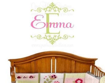 "Initial and Name Wall Decal for Girl or Teen - Personalized Vinyl Wall Decal - Baby Nursery - Shabby Chic - Elegant  22""H x 22""W FN0187"