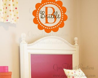 Monogram Wall Decal - Scallop Circle Border - Personalized Initial and Name Vinyl Wall Decal - Polka Dot Circle FN0194