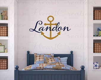 Nautical Wall Decal - Personalized Monogram Baby Boy or Girl Wall Decal with Boat Anchor IN0040