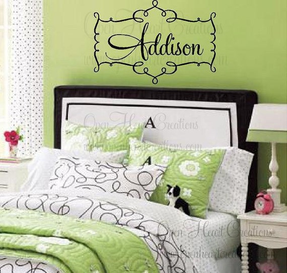 Extra Large Swirl Personalized Girl Name Wall Decal Fun Frame Script Casual Font 28h X 42w FN0103