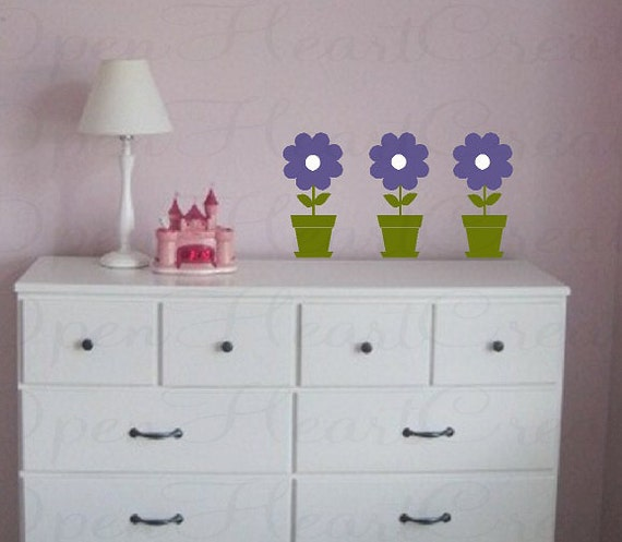 Flower Wall Decals - Set of Three Flower Pot Vinyl Wall Transfer Stickers - Baby Nursery Kids Play Room NW0024