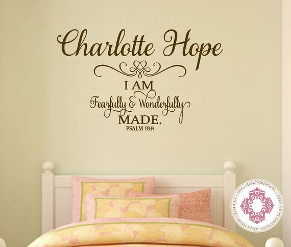 Baby Nursery Wall Decal - I am Fearfully and Wonderfully Made with Personalize Name Ba0278