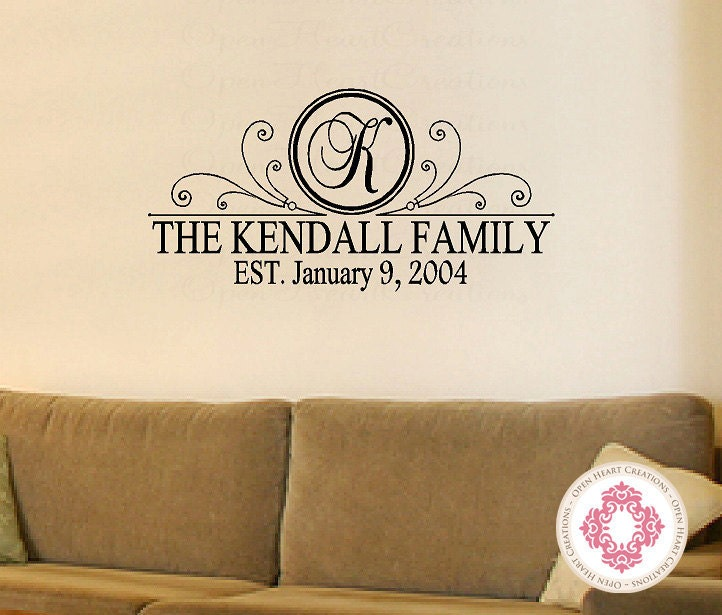 Personalized Family Name Vinyl Wall Decal With Initial Name