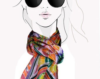 Electric Sunshine: Bright Multicolor Geometric, hand painted silk scarf