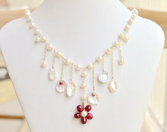 Falling Flowers and Petals Necklace - genuine ruby - keishi pearls - freshwater pearls - 14k gold filled