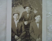 3 Young Men in Hats - Gay Interest - Identified Cranny & Day - Vintage Real Photo Postcard - 1913