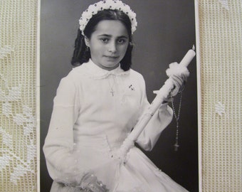 Girl in First Communion Dress, Candle and Rosary - Real Photo Postcard