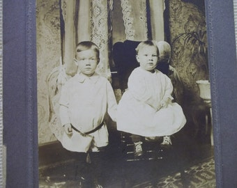 Sweet Little Boys - Interior View - Cabinet Card Photo - 1800's