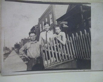 SALE....Real Photo Postcard of 3 Young Boys Hanging Out on Main Street - early 1900's