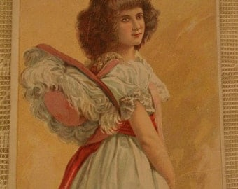 Pretty Girl in Lacy White Dress and Large Feather Hat - Soapine Victorian Trade Card - 1800's