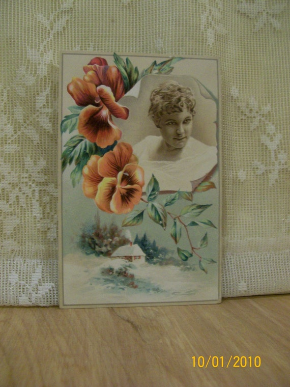 Pretty Girl with Pansies and Winter Scene - Victorian Reward of Merit Card - 1800's