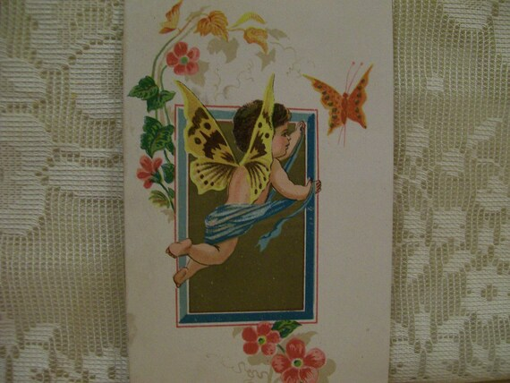 Angel, Butterfly and Flowers - Fantasy - Victorian Card Scrap - 1800's