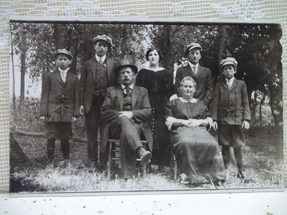 Old Family Photo - All the Boys in Driving Hats - Real Photo Postcard - early 1900's