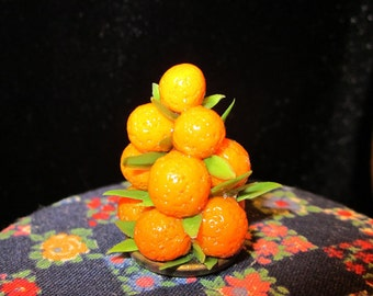 1/12 Scale (Dollhouse) Orange Fruit Pyramid - Holiday Centerpiece - Indoor Fairy Garden