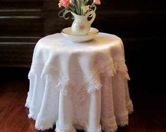 1/12 Scale (Dollhouse) Double White Cloth Covered Table Trimmed with White Lace - Indoor Fairy Garden