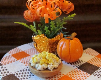 1/12 Scale (Dollhouse) Buttered Popcorn in a Wooden Bowl Halloween Autumn Snack Treat - Indoor Fairy Garden