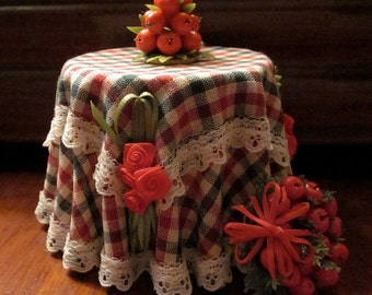 1/12 Scale (Dollhouse) Red Green & White Gingham Double Cloth Covered Table with Four Rose Swags - Indoor Fairy Garden