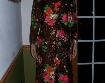 Womens Maxi Dress Vintage 70s Boho Bright Psychedelic Hippie Maxi Dress M L