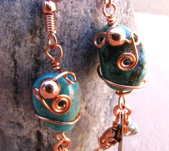 Indian Summer Turquoise & Copper Filigree Dangle Earrings