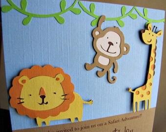 Safari Party Invitations, Jungle Party Invitation, Safari Birthday Invitation, Safari Baby Shower Invitation, Jungle Baby Shower, Set of 12