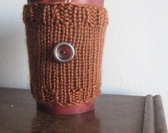 Amber Knit Coffee Cup Cozy Vegan Knits, Knit Coffee Sleeve, Knit Mason Jar Cozy, Travel Mug Cozy