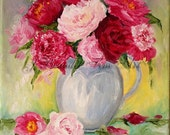 Original Peonies Still Life oil painting Personalized Custom11x14 by J Beaudet