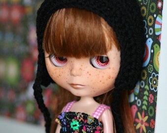 Blythe Hat Gnome Helmet - Crochet Pixie Hat for Blythe - Black Doll Accessories Doll Hat