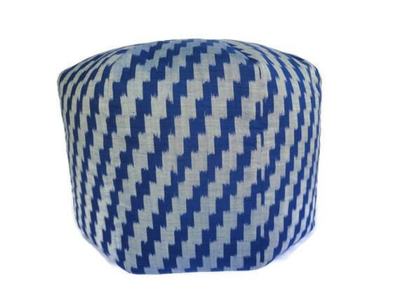 """Ikat, Pouf, Pouffe, Bean Bag, Ottoman, Floor Pillow, Floor Cushion, Blue Gray, 20"""""""