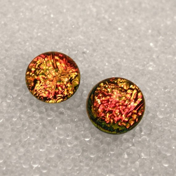Dichroic Fused Glass Post /Stud Earrings, Sparkling Warm Pink Coral, Peach, Copper Salmon