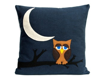 Little Owl Dreaming of Flying to The Moon and Back Eco-Felt Throw Pillow Cover - 18 inches - Navy Blue