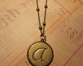 Initial Jewelry Monogram A Pendant Necklace antique Brass Bridesmaid wedding Jewelry Bridal gift