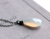 First Snow - White Gemstone Necklace Wire Wrapped Chalcedony on Oxidized Sterling Silver Chain - Winter Fashion Under 50