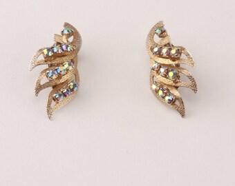 Vintage Earrings Gold Rhinestone Angel Wings Clip On 60s Elegant Art Deco Cocktail