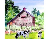 Old Red Barn Fine Art Watercolor PRINT / Farm dairy cow vineyard countryside landscape painting / Barn animals wall Decor / Rural artwork