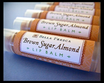 Brown Sugar Almond Lip Balm - Shea Butter Lip Balm Lip Butter for  lips, lip care for men & women, teens, Bath and Beauty