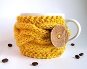 Golden Yellow Tea Cup Cozy, Coffee Cup Cozy, Coffee Mug Cozy, Coffee Cup Sleeve, Knit Mug Cozy, Coffee Sleeve, Knit Cup Cozy, Mustard Yellow