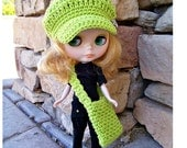 Blythe Hat, Bag in Lime Green, Blythe Newsboy Hat, Blythe Crochet Hat, Blythe Doll, Blythe Outfit, Neon, Ready to Ship ohtteam theteam