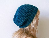Teal Hat - Chunky Knit Hat - Teal Beanie - Knit Slouchy Hat - Womens Slouchy Beanie - Womens Slouchy Hat - Knit Slouchy Beanie - Mens Beanie