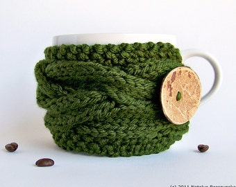 Coffee Mug Cozy, Tea Cozy, Coffee Cozy, Cup Cozy, Mug Cozy, Coffee Cup Cozy, Coffee Cup Sleeve, Coffee Sleeve, Green Wedding, Rustic Decor
