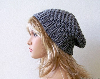 Knit Slouchy Hat Slouchy Beanie Hat Knit Slouch Hat Womens Slouch Hat Mens Knit Hat Mens Slouchy Beanie Chunky Knit Hat Womens Hats Men