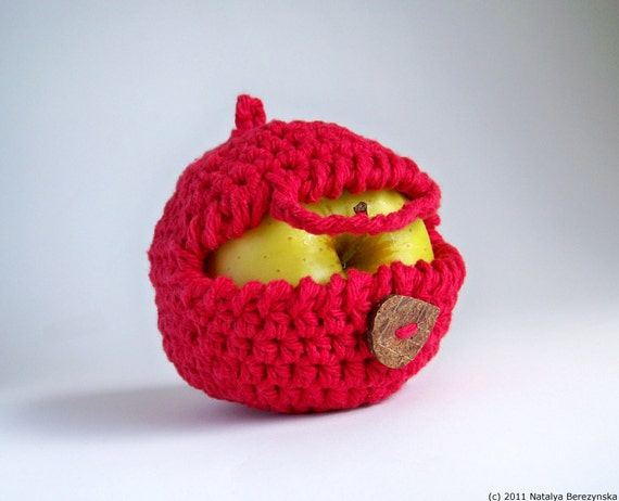 Crochet Apple Cozy, Red Apple Cozy, Crochet Apple, Apple Decor, Apple Wedding, Vegan Gift, Yoga Gifts, Colleague Gift