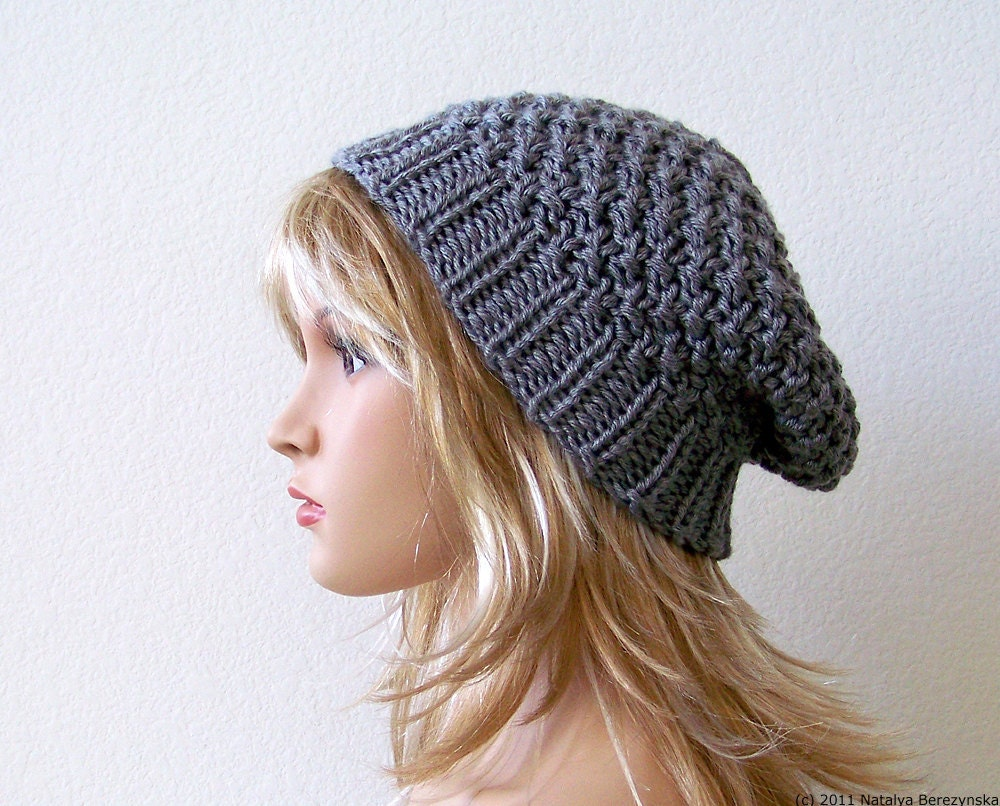 Womens Knit Hat Pattern : Knit Slouch Hat Knit Slouchy Hat Slouchy Beanie Hat Womens