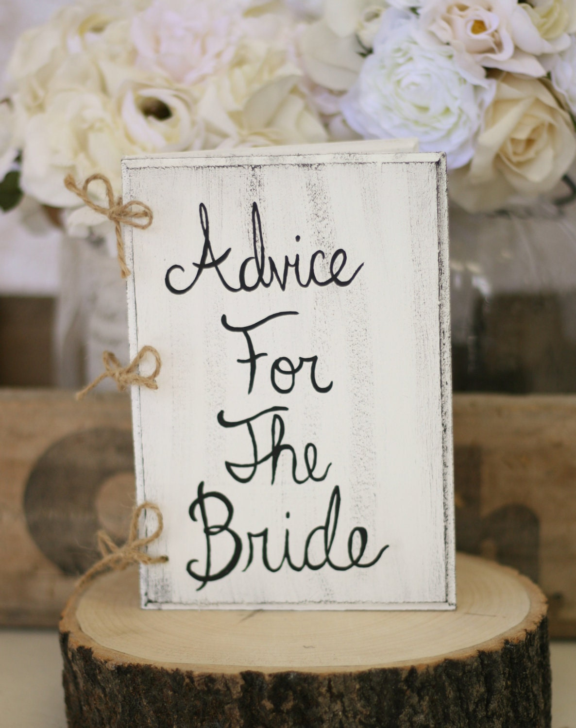 Bridal Shower Guest Book Advice For The Bride Book Rustic Chic