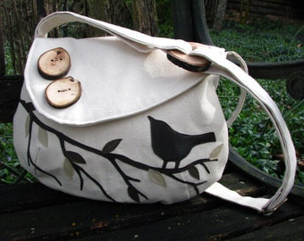 SINGING BIRD on a Branch Handbag/  Water Repellent Canvas /Tote /Eco Friendly /Messenger/ 17 Colors Available