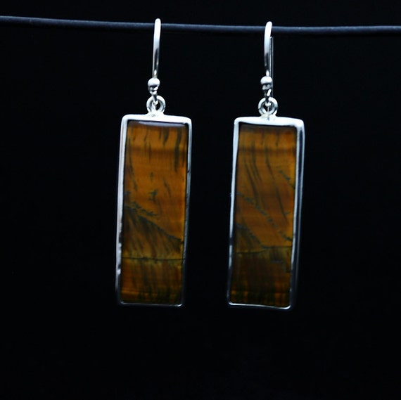 Mark Garbarini Sterling Silver Tigers Eye Earrings RAWR