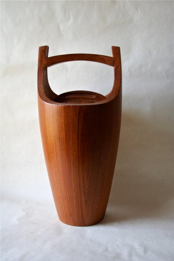 Dansk Ihq Staved Teak Wood Ice Bucket Wooden Jens Quistgaard