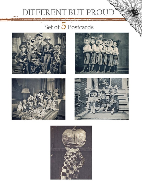 Set of 5 Halloween Postcards - Different but proud