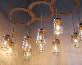 Mason Jar Chandelier, BootsNGus Handcrafted Canopy Mason Jar Lighting Fixture, Modern Country Home Hanging Light, Rustic Wedding Lighting