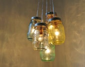Breezes Mason Jar Chandelier - 5 Pint Ball Jars - Brushed Nickel Ceiling Plate & Hardware for Direct Installation - BootsNGus Lamp Design