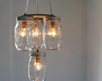 Mason Jar Chandelier - Mason Jar Light - 2 Tier - Modern Industiral Swag - Handcrafted Upcycled BootsNGus Hanging Pendant Lighting Fixture